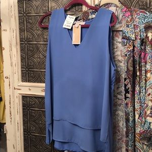Sleeveless flowing blouse sky blue Michael Kors